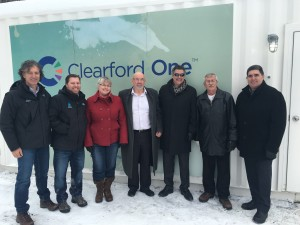 Clearford OneTM commissioning ceremony at Fetherston Mobile Park, North Grenville Ontario. From left to right: Peter Rupcic and Richard Nie, Koester Canada; Karen Dunlop, Direct Public Works and David Gordon, Mayor, North Grenville; Kevin Loiselle, Clearford Water Systems Inc., Maurice Dumoulin, Fetherston Mobile Park Association and Brian J. Carré, Chief Administrative Officer, North Grenville